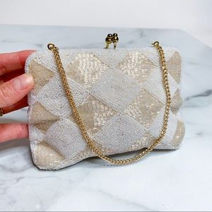 Vintage 1960s Diamond Beaded Bag Richere Walborg